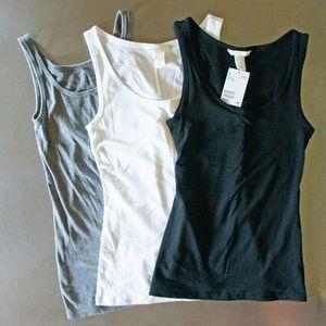 3 Tank Tops Basic Black White H&M NEW +Grey Merona